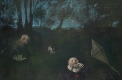 V parku / In the park, olje na platnu / oil on canvas, 1986, 100x150 cm