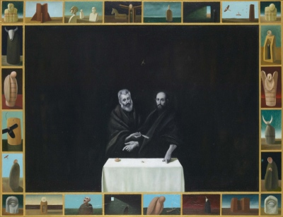 Debata / The debate, olje, les / oil on wood, 2000, 60x80 cm