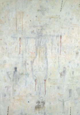 Stigmatizirani / Stigmatized, olje, papir in les / oil, paper and wood, 1996, 140x100 cm