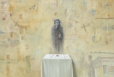 Lucifer, olje, papir in les  /oil, paper and wood, 2001, 70x100 cm