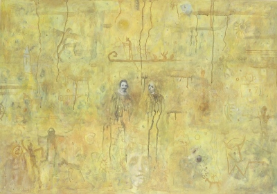Rumeni palimpsest / The Yellow Palimpsest, olje, papir in les / oil, paper and wood, 1996, 70x100 cm