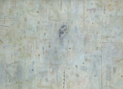 Palimpsest, olje na platno / oil on canvas, 1995, 80x110 cm